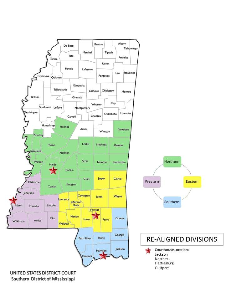 Divisional County Listings Southern District Of Mississippi - Us-map-ms